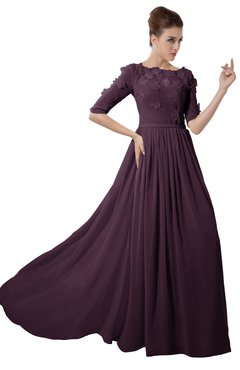 ColsBM Rene Plum Bridesmaid Dresses Boat Flower A-line Elastic Elbow Length Sleeve Hawaiian