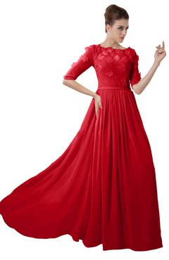 ColsBM Rene Red Bridesmaid Dresses Boat Flower A-line Elastic Elbow Length Sleeve Hawaiian