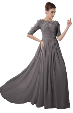 ColsBM Rene Ridge Grey Bridesmaid Dresses Boat Flower A-line Elastic Elbow Length Sleeve Hawaiian