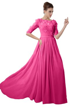ColsBM Rene Rose Pink Bridesmaid Dresses Boat Flower A-line Elastic Elbow Length Sleeve Hawaiian