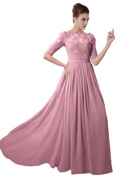 ColsBM Rene Rosebloom Bridesmaid Dresses Boat Flower A-line Elastic Elbow Length Sleeve Hawaiian