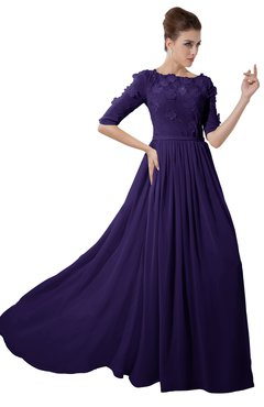 ColsBM Rene Royal Purple Bridesmaid Dresses Boat Flower A-line Elastic Elbow Length Sleeve Hawaiian