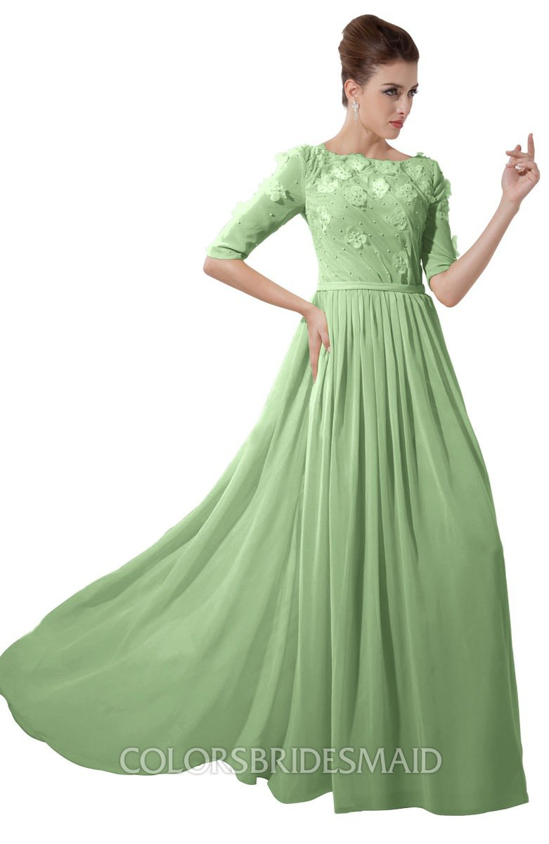 73086627be71 ColsBM Rene Sage Green Bridesmaid Dresses Boat Flower A-line Elastic Elbow  Length Sleeve Hawaiian