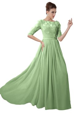 ColsBM Rene Sage Green Bridesmaid Dresses Boat Flower A-line Elastic Elbow Length Sleeve Hawaiian