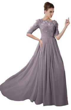 ColsBM Rene Sea Fog Bridesmaid Dresses Boat Flower A-line Elastic Elbow Length Sleeve Hawaiian