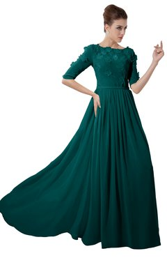 ColsBM Rene Shaded Spruce Bridesmaid Dresses Boat Flower A-line Elastic Elbow Length Sleeve Hawaiian