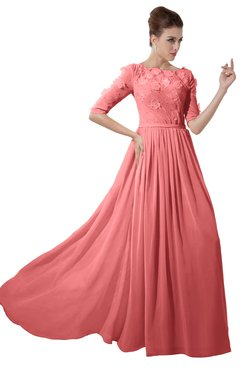 ColsBM Rene Shell Pink Bridesmaid Dresses Boat Flower A-line Elastic Elbow Length Sleeve Hawaiian