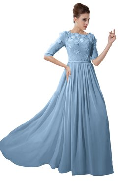 ColsBM Rene Sky Blue Bridesmaid Dresses Boat Flower A-line Elastic Elbow Length Sleeve Hawaiian