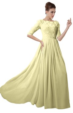 ColsBM Rene Soft Yellow Bridesmaid Dresses Boat Flower A-line Elastic Elbow Length Sleeve Hawaiian
