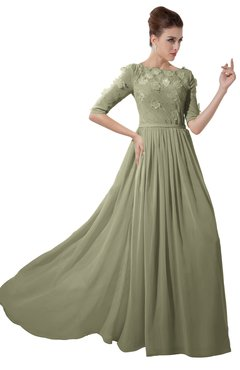 ColsBM Rene Sponge Bridesmaid Dresses Boat Flower A-line Elastic Elbow Length Sleeve Hawaiian