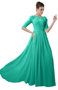 ColsBM Rene Viridian Green Bridesmaid Dresses Boat Flower A-line Elastic Elbow Length Sleeve Hawaiian
