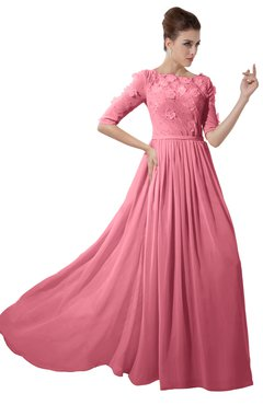 ColsBM Rene Watermelon Bridesmaid Dresses Boat Flower A-line Elastic Elbow Length Sleeve Hawaiian
