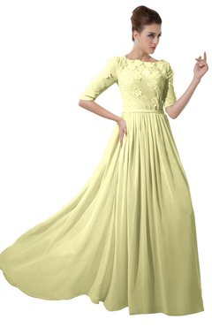 ColsBM Rene Wax Yellow Bridesmaid Dresses Boat Flower A-line Elastic Elbow Length Sleeve Hawaiian