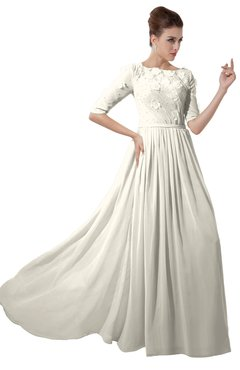 ColsBM Rene Whisper White Bridesmaid Dresses Boat Flower A-line Elastic Elbow Length Sleeve Hawaiian