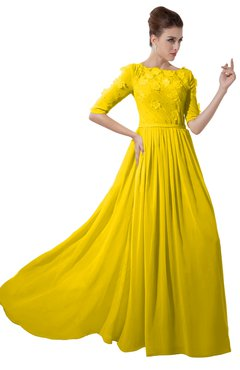 ColsBM Rene Yellow Bridesmaid Dresses Boat Flower A-line Elastic Elbow Length Sleeve Hawaiian