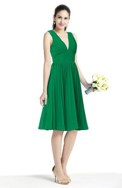 8173765a7cce ColsBM Perla Green Elegant V-neck Sleeveless Zipper Sash Plus Size  Bridesmaid Dresses