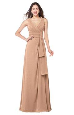 ColsBM Brenda Almost Apricot Romantic Thick Straps Sleeveless Zipper Floor Length Sash Plus Size Bridesmaid Dresses