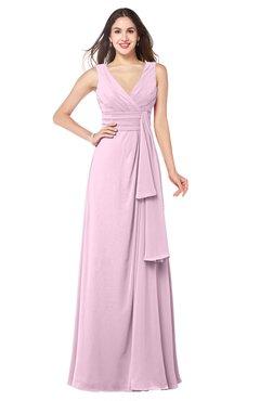 ColsBM Brenda Baby Pink Romantic Thick Straps Sleeveless Zipper Floor Length Sash Plus Size Bridesmaid Dresses
