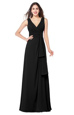 ColsBM Brenda Black Romantic Thick Straps Sleeveless Zipper Floor Length Sash Plus Size Bridesmaid Dresses
