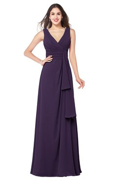 ColsBM Brenda Blackberry Cordial Romantic Thick Straps Sleeveless Zipper Floor Length Sash Plus Size Bridesmaid Dresses