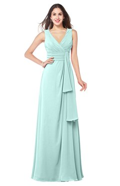 ColsBM Brenda Blue Glass Romantic Thick Straps Sleeveless Zipper Floor Length Sash Plus Size Bridesmaid Dresses