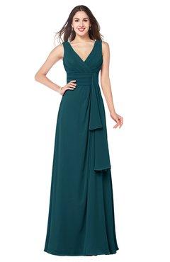ColsBM Brenda Blue Green Romantic Thick Straps Sleeveless Zipper Floor Length Sash Plus Size Bridesmaid Dresses