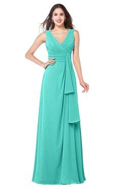 ColsBM Brenda Blue Turquoise Romantic Thick Straps Sleeveless Zipper Floor Length Sash Plus Size Bridesmaid Dresses