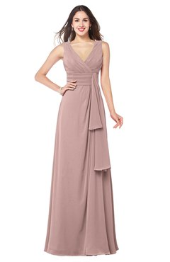 ColsBM Brenda Blush Pink Romantic Thick Straps Sleeveless Zipper Floor Length Sash Plus Size Bridesmaid Dresses