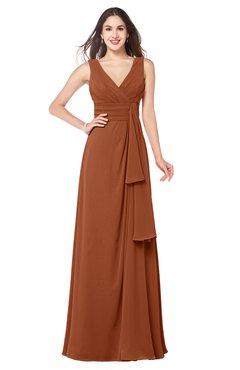 ColsBM Brenda Bombay Brown Romantic Thick Straps Sleeveless Zipper Floor Length Sash Plus Size Bridesmaid Dresses