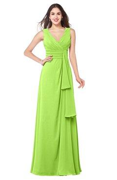 ColsBM Brenda Bright Green Romantic Thick Straps Sleeveless Zipper Floor Length Sash Plus Size Bridesmaid Dresses