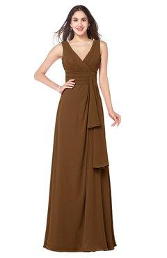 ColsBM Brenda Brown Romantic Thick Straps Sleeveless Zipper Floor Length Sash Plus Size Bridesmaid Dresses