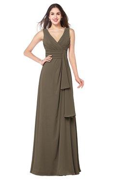 ColsBM Brenda Carafe Brown Romantic Thick Straps Sleeveless Zipper Floor Length Sash Plus Size Bridesmaid Dresses