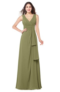 ColsBM Brenda Cedar Romantic Thick Straps Sleeveless Zipper Floor Length Sash Plus Size Bridesmaid Dresses
