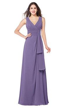 ColsBM Brenda Chalk Violet Romantic Thick Straps Sleeveless Zipper Floor Length Sash Plus Size Bridesmaid Dresses