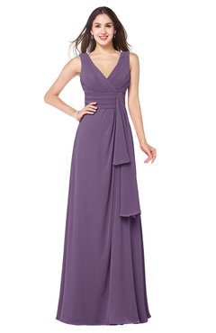 ColsBM Brenda Chinese Violet Romantic Thick Straps Sleeveless Zipper Floor Length Sash Plus Size Bridesmaid Dresses