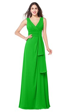 ColsBM Brenda Classic Green Romantic Thick Straps Sleeveless Zipper Floor Length Sash Plus Size Bridesmaid Dresses