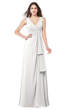 ColsBM Brenda Cloud White Romantic Thick Straps Sleeveless Zipper Floor Length Sash Plus Size Bridesmaid Dresses