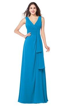 ColsBM Brenda Cornflower Blue Romantic Thick Straps Sleeveless Zipper Floor Length Sash Plus Size Bridesmaid Dresses