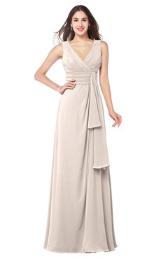 ColsBM Brenda Cream Pink Romantic Thick Straps Sleeveless Zipper Floor Length Sash Plus Size Bridesmaid Dresses