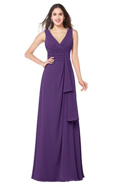ColsBM Brenda Dark Purple Romantic Thick Straps Sleeveless Zipper Floor Length Sash Plus Size Bridesmaid Dresses
