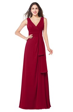 ColsBM Brenda Dark Red Romantic Thick Straps Sleeveless Zipper Floor Length Sash Plus Size Bridesmaid Dresses