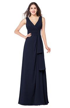 ColsBM Brenda Dark Sapphire Romantic Thick Straps Sleeveless Zipper Floor Length Sash Plus Size Bridesmaid Dresses