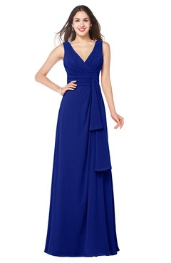 ColsBM Brenda Electric Blue Romantic Thick Straps Sleeveless Zipper Floor Length Sash Plus Size Bridesmaid Dresses