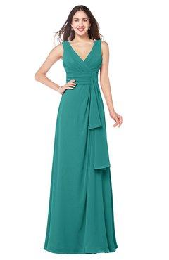 ColsBM Brenda Emerald Green Romantic Thick Straps Sleeveless Zipper Floor Length Sash Plus Size Bridesmaid Dresses