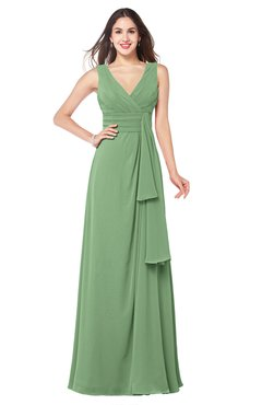 ColsBM Brenda Fair Green Romantic Thick Straps Sleeveless Zipper Floor Length Sash Plus Size Bridesmaid Dresses