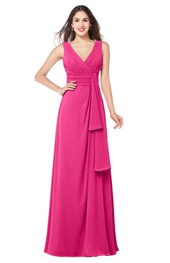 ColsBM Brenda Fandango Pink Romantic Thick Straps Sleeveless Zipper Floor Length Sash Plus Size Bridesmaid Dresses