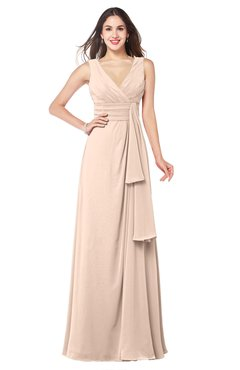 ColsBM Brenda Fresh Salmon Romantic Thick Straps Sleeveless Zipper Floor Length Sash Plus Size Bridesmaid Dresses