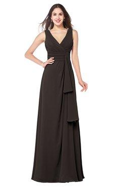 ColsBM Brenda Fudge Brown Romantic Thick Straps Sleeveless Zipper Floor Length Sash Plus Size Bridesmaid Dresses