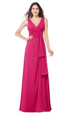 ColsBM Brenda Fuschia Romantic Thick Straps Sleeveless Zipper Floor Length Sash Plus Size Bridesmaid Dresses
