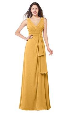 ColsBM Brenda Golden Cream Romantic Thick Straps Sleeveless Zipper Floor Length Sash Plus Size Bridesmaid Dresses